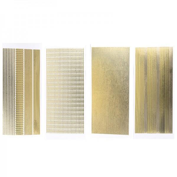 Stickerbogen, Schmale Bordüren, Spiegelfolie, gold, 4 Stück