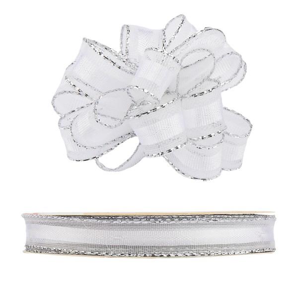 Ziehrüschen-Band, Organza mit Silberkante, 1cm breit, 10m lang, weiß