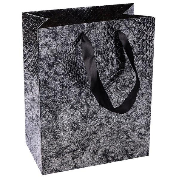 Geschenktaschen, 23cm x 18cm x 10cm, schwarz/silber, 3 Stück