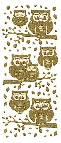 Microglitter-Sticker Eulen & Blätter, gold