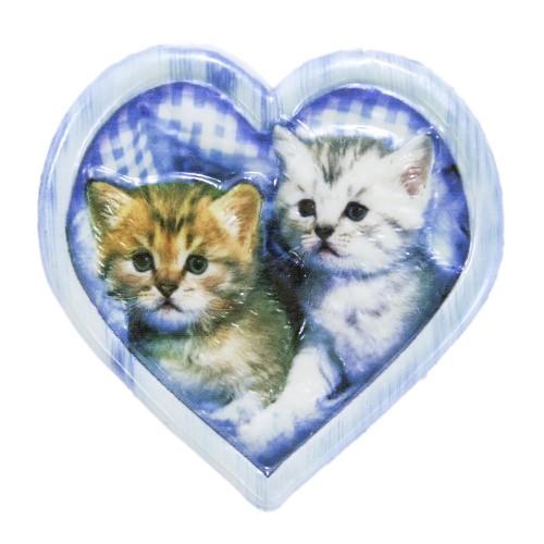 Wachsornament, 2 Katzen im Herz, farbig, geprägt, 7x7cm