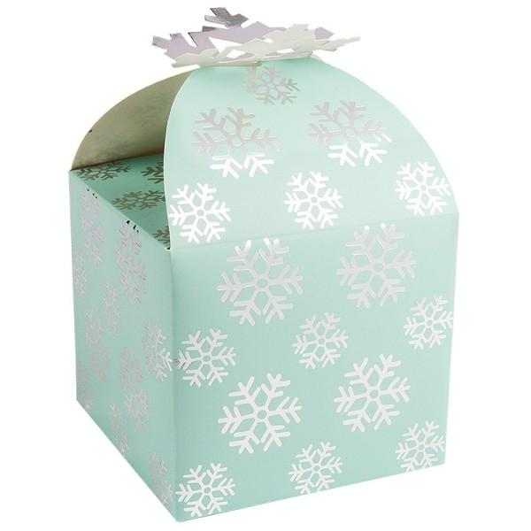 Zier-Faltboxen, Eiskristall, 11cm x 11cm x 10cm, eisblau mit Silberfolienveredelung, 10 Stück
