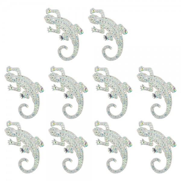 Schmucksteine, Gecko, 3,5cm x 5cm, klar, irisierend, silberne Rückseite, 10 Stück