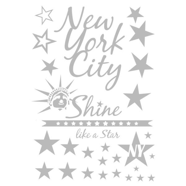 Metallic-Bügeltransfer, New York, DIN A4, silber glänzend