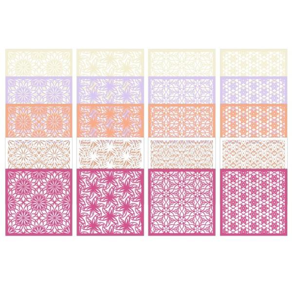 Laser-Kartenaufleger, Blumen 1, 14cm x 14cm, 4 versch. Designs, 5 Farbtöne, 20 Stück