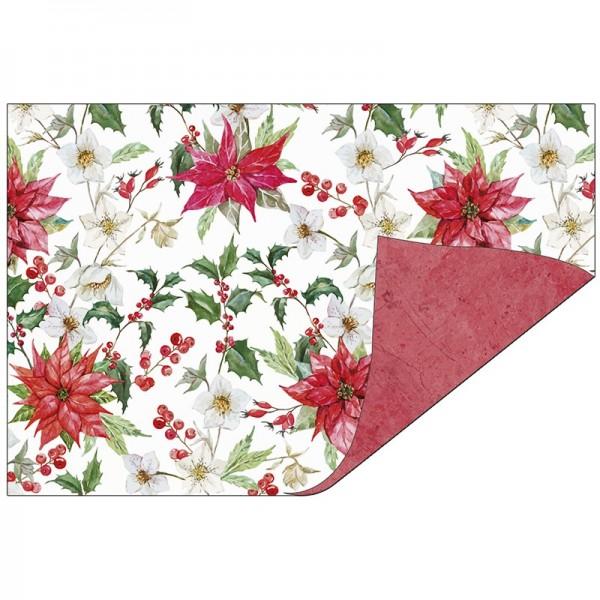 Faltpapiere Duo-Design 27, 10x15 cm, Winterblumen/rot, 50 Stück