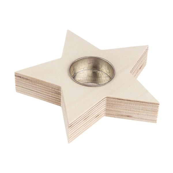 Teelichthalter aus Holz, Stern, 13cm x 13cm x 2,4cm