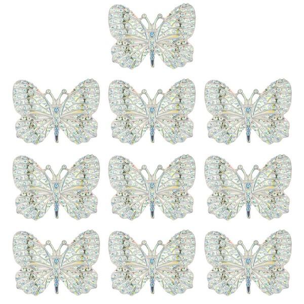 Schmucksteine, Schmetterling 1, 2,8cm x 3,7cm, klar, irisierend, silberne Rückseite, 10 Stück
