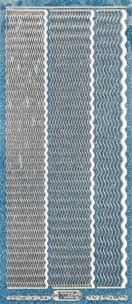 Microglitter-Sticker, Wellen-Linien, 3 Breiten, türkis