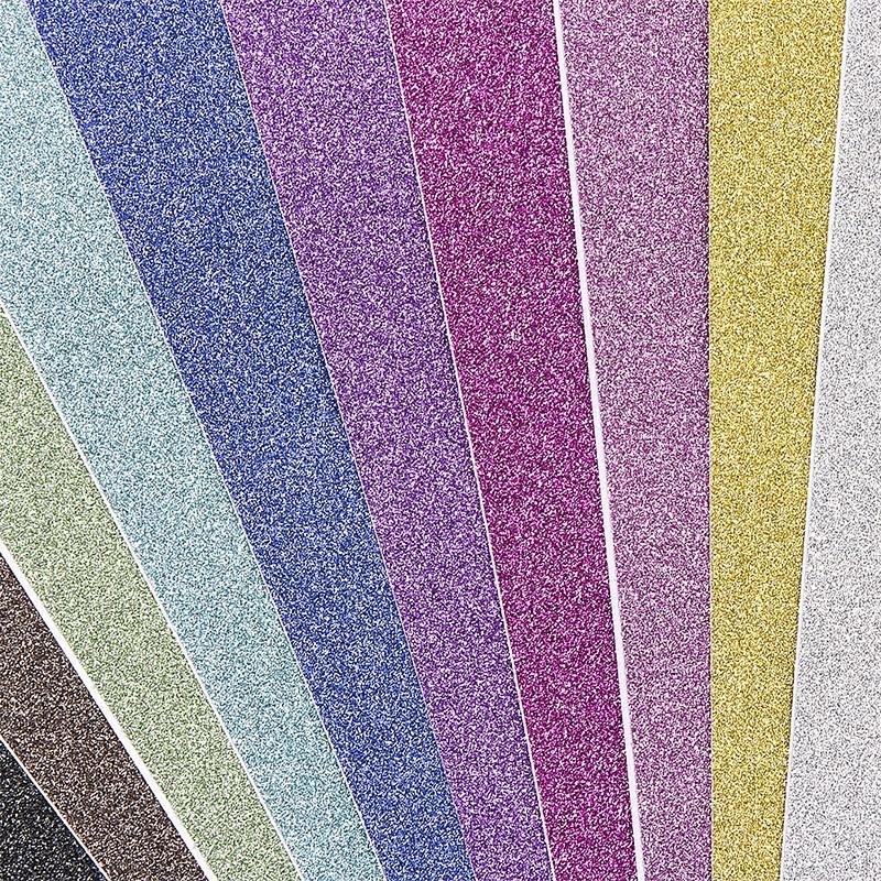 10 Bogen Glitzer-Papier 10 Farben selbstklebend DIN A4