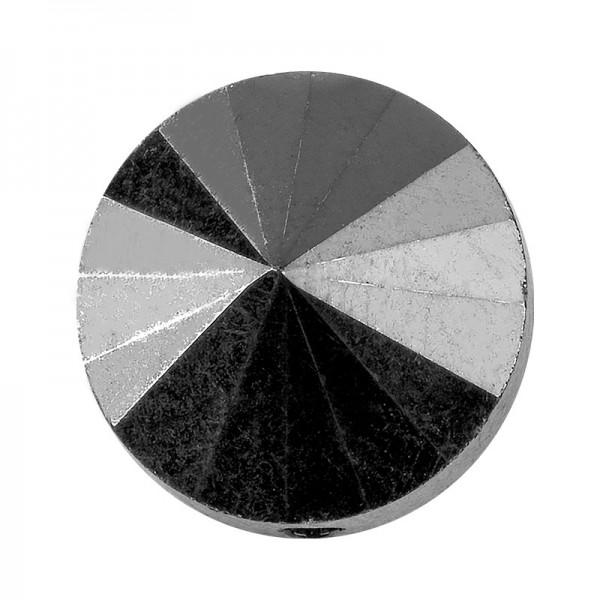 Perlen, rund, flach, Ø 1cm, facettiert, transparent, anthrazit, 40 Stück