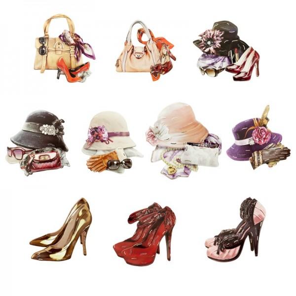 3-D Motive, Fashion, Gold-Gravur, 7,5-8,5cm, 10 Motive