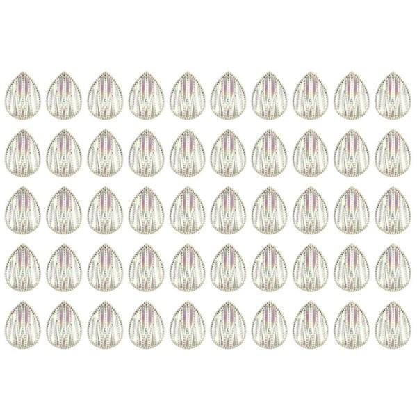 Kristallkunst-Schmucksteine, Tropfen 4, 2,5cm x 1,8cm, klar irisierend, 50 Stück