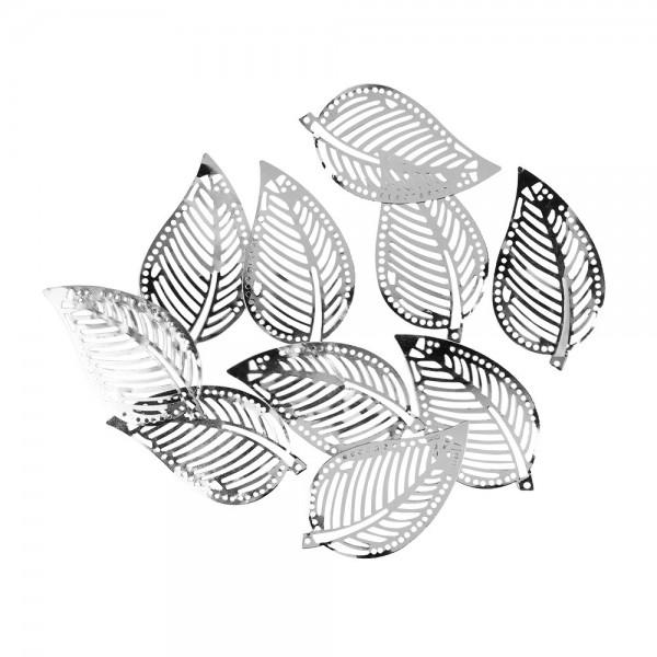 Metall-Ornamente, Blatt 2, 7cm x 4cm, silber, 10 Stück