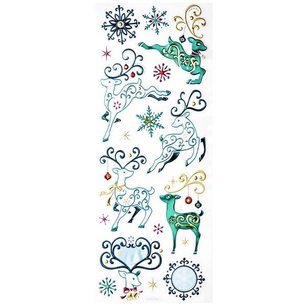 Metallic-Relief-Sticker, Rentiere, 12 x 30 cm