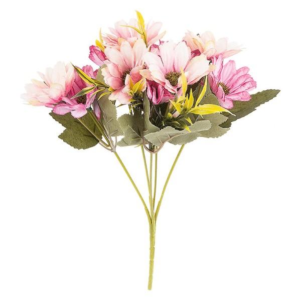 Blütenbusch, Margeriten, 28cm hoch, 10 große Blüten Ø 4cm, Rosatöne