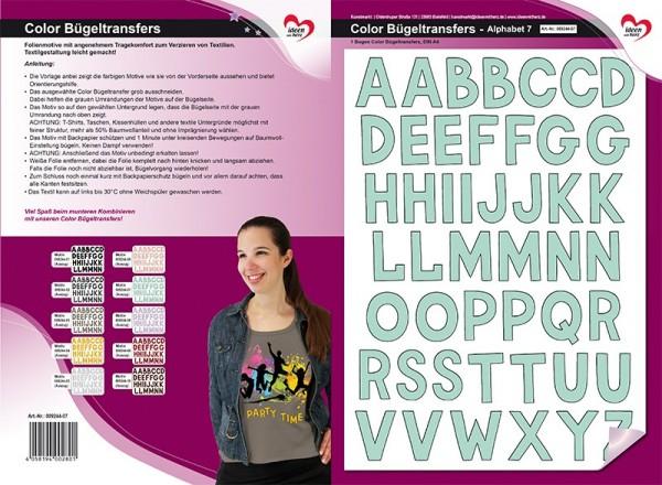 Color Bügeltransfers, DIN A4, Alphabet 7, mint
