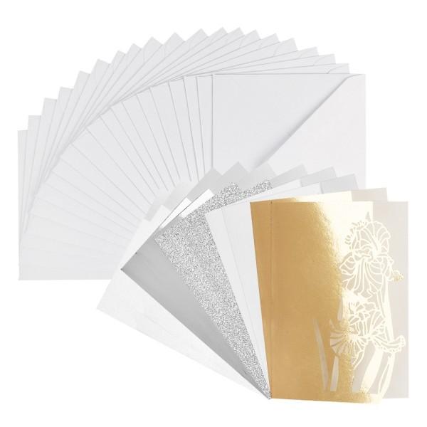 Laser-Grußkarten Mini, Schwertlilie, 9,5cm x 7cm, versch. Farben, mit Umschlägen, 20 Stück