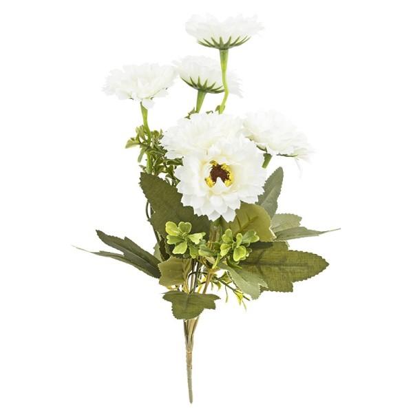 Blütenbusch, Chrysanthemen 1, 32cm hoch, 6 große Blüten, Ø 6cm, weiß