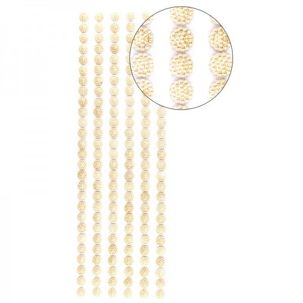 Halbperlen-Bordüren, Perlenblüte, 10cm x 30cm, selbstklebend, creme