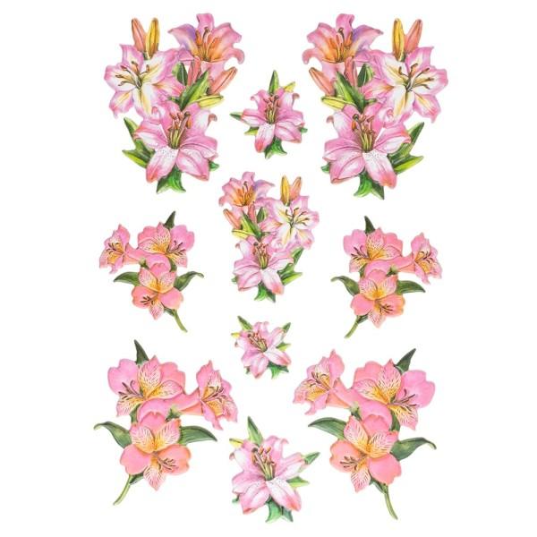 3-D Relief-Sticker, Elegante Lilien 4, 21cm x 30cm, verschiedene Größen, selbstklebend