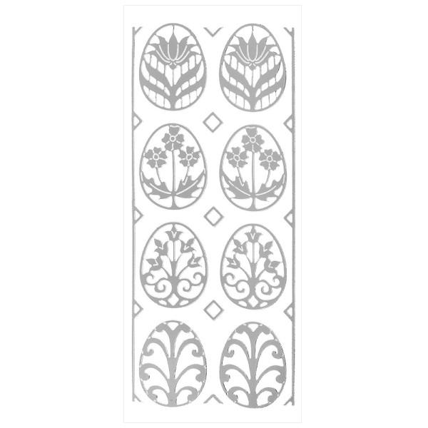Sticker Schmuck-Ostereier, silber