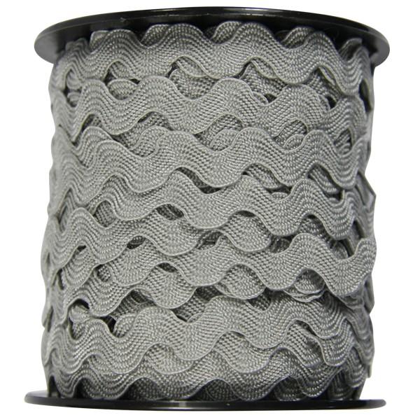 Zickzack Deko-Band auf Rolle, 7mm x 25 m, grau