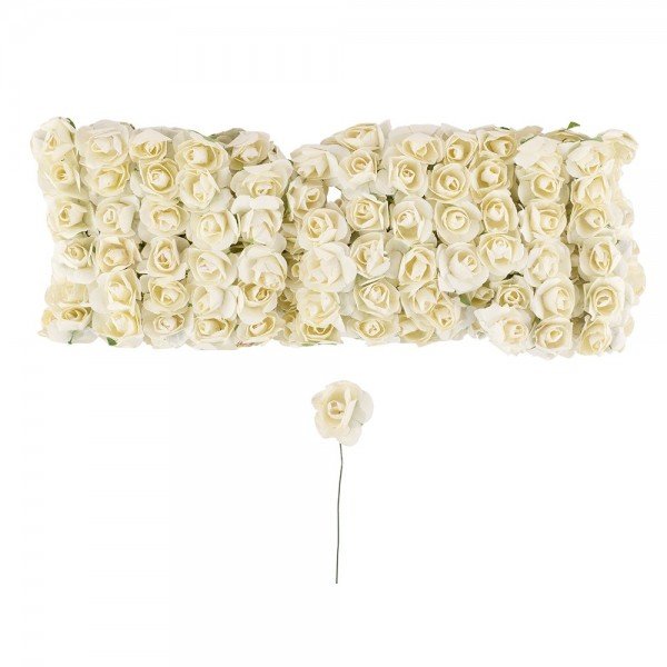 Deko-Blüten, Rosen, Ø 1cm, creme, 144 Stück