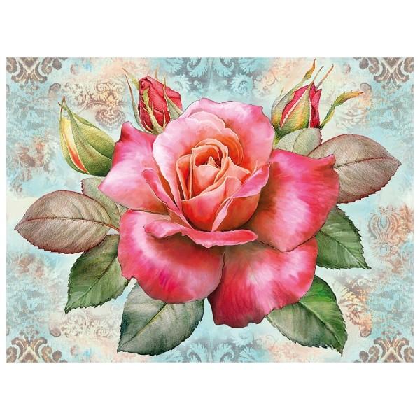 5D Diamond Painting, Rose, 35cm x 25cm, Motivleinwand, runde Steinchen, inkl. Werkzeug