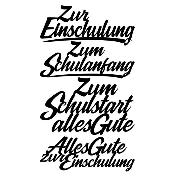 Stanzschablonen, Schriften, Zur Einschulung, 3,1cm bis 8,2cm, 4 Stück
