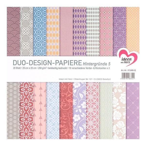 Duo-Design-Papiere, Hintergründe 5, beidseitig bedruckt, 25cm x 25cm, 250g/m², 20 Blatt