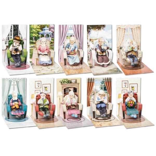 """3-D Pop-Up Grußkarten """"Sessel"""", inkl. 3-D Motive """"Oma & Opa"""" und Umschläge, 40-teilig"""