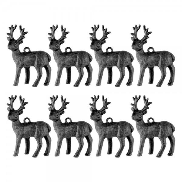 Deko-Hirsche 4, Rohlinge, 4,5cm x 6,5cm x 1,3cm, mit Öse zum Aufhängen, 8 Stück