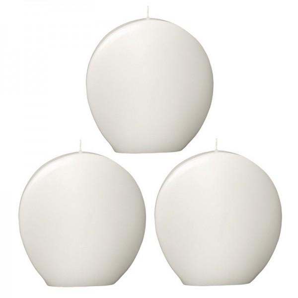 Medaillon-Kerze, weiß, 13cm  x 13cm, 3 Stück