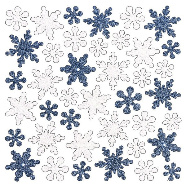 Moosgummi-Sticker, Eiskristalle, 15cm x 15cm, mit irisierendem Glitzer