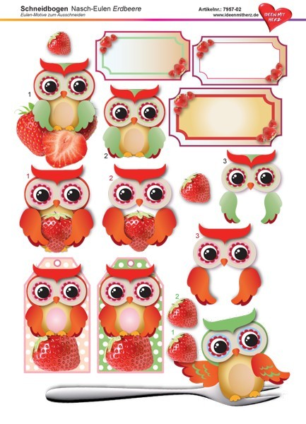 3-D Schneidbogen, DIN A4, Nasch-Eulen, Erdbeer-Design
