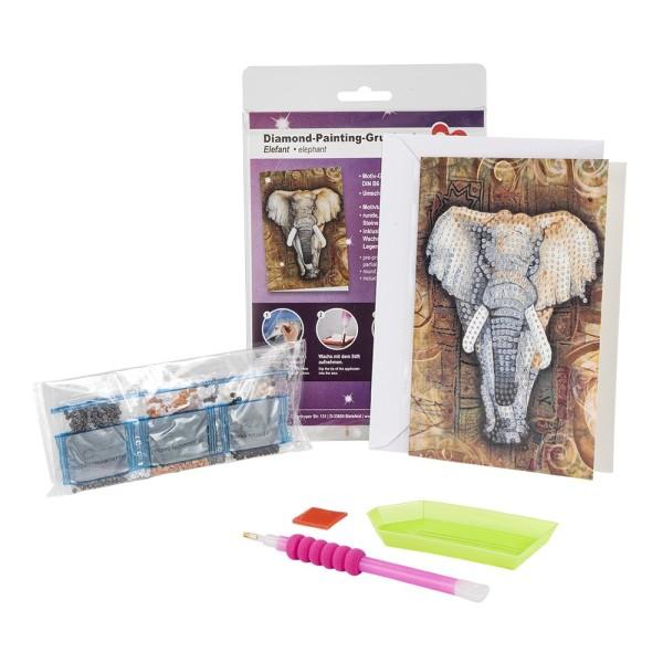 Diamond-Painting-Grußkarte, Elefant, 11,5cm x 16,5cm, 370g/m², inkl. Umschlag & Werkzeug