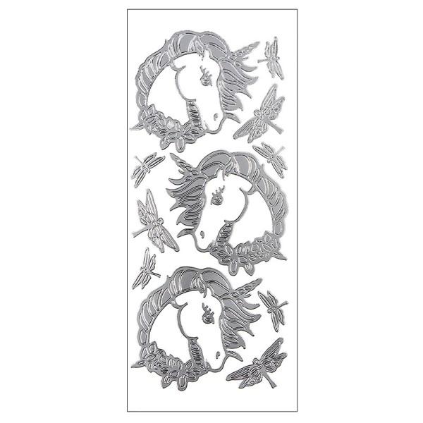 Sticker, Einhörner & Libellen, Perlmuttfolie, silber