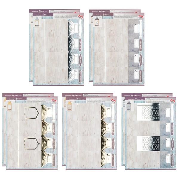 Stanzbogen, Laternen, DIN A4, 5 verschiedene Designs, 10 Stück
