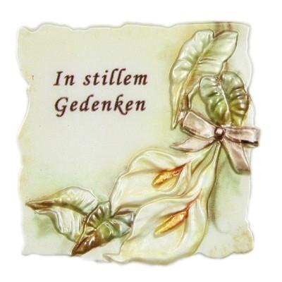 """Wachsornament Trauer, """"In stillem Gedenken"""", 7x7cm"""