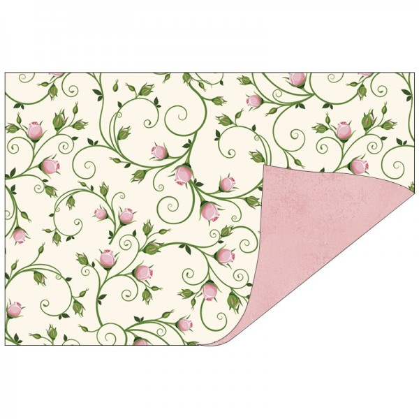 Faltpapiere, Duo-Design 44, 10cm x 15cm, Blütenranken/rosé, 50 Stück