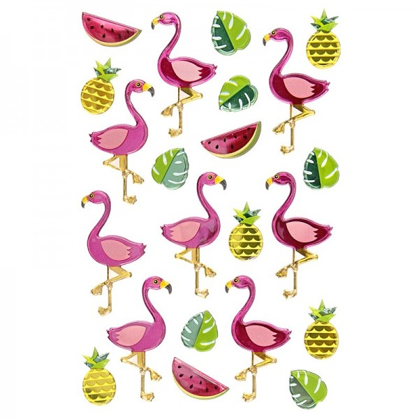 Epoxy-Sticker, Flamingos, 15cm x 10cm, 22 Sticker