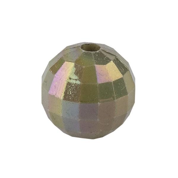 Perlen, facettiert, Ø 10mm, peridot-irisierend, 50 Stück