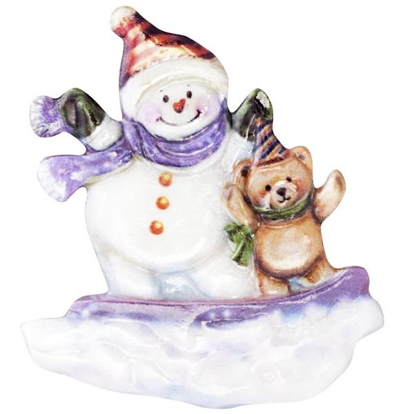 Wachsornament Fröhl. Schneemänner 7, farbig, geprägt, 6,5-7cm