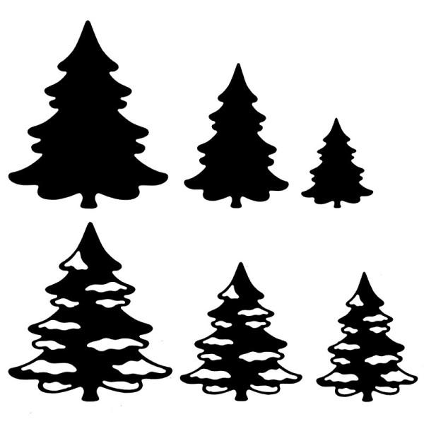 Stanzschablonen, Tannenbäume 1, 6 Stück