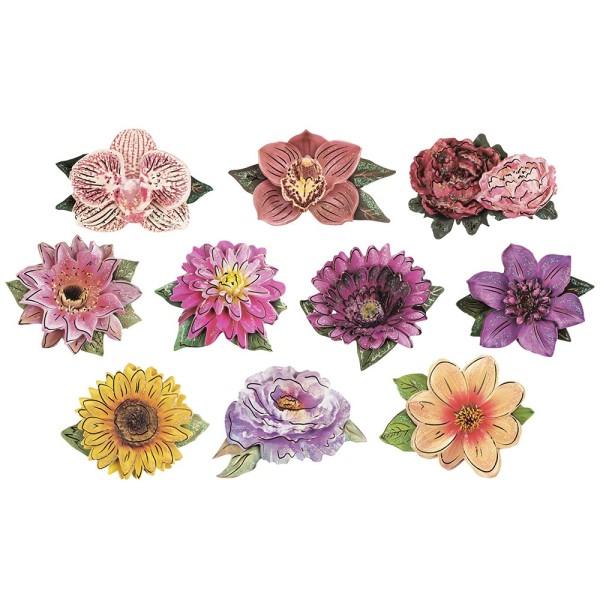 3-D Motive, Edle Blüten, Gold-Gravur, 8cm x 8cm, 10 Motive