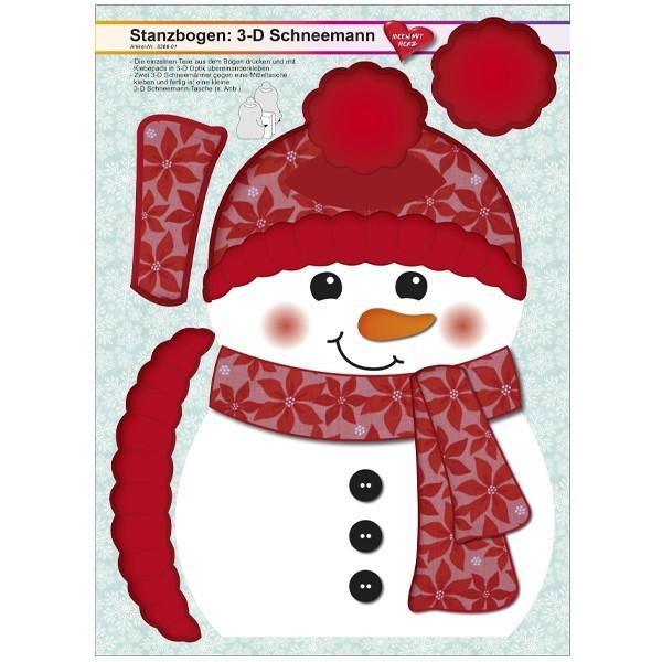 Stanzbogen, 3-D Schneemann, DIN A4, Design 1, 2er Set