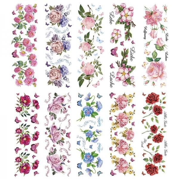 Transparent-Sticker, Blumen, 10cm x 30cm, 10 Bogen