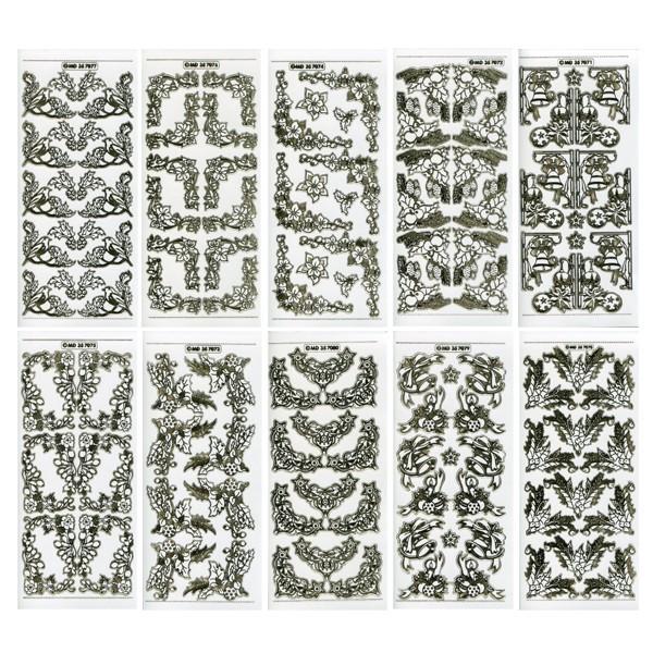 Gravur-Sticker, 108 Weihnachts-Ecken, transparent/gold, 10 Bogen