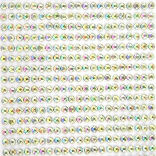 Glitzerstein-Bordüren, selbstklebend, Ø4mm, 9cm, grün-irisierend, 49Stk